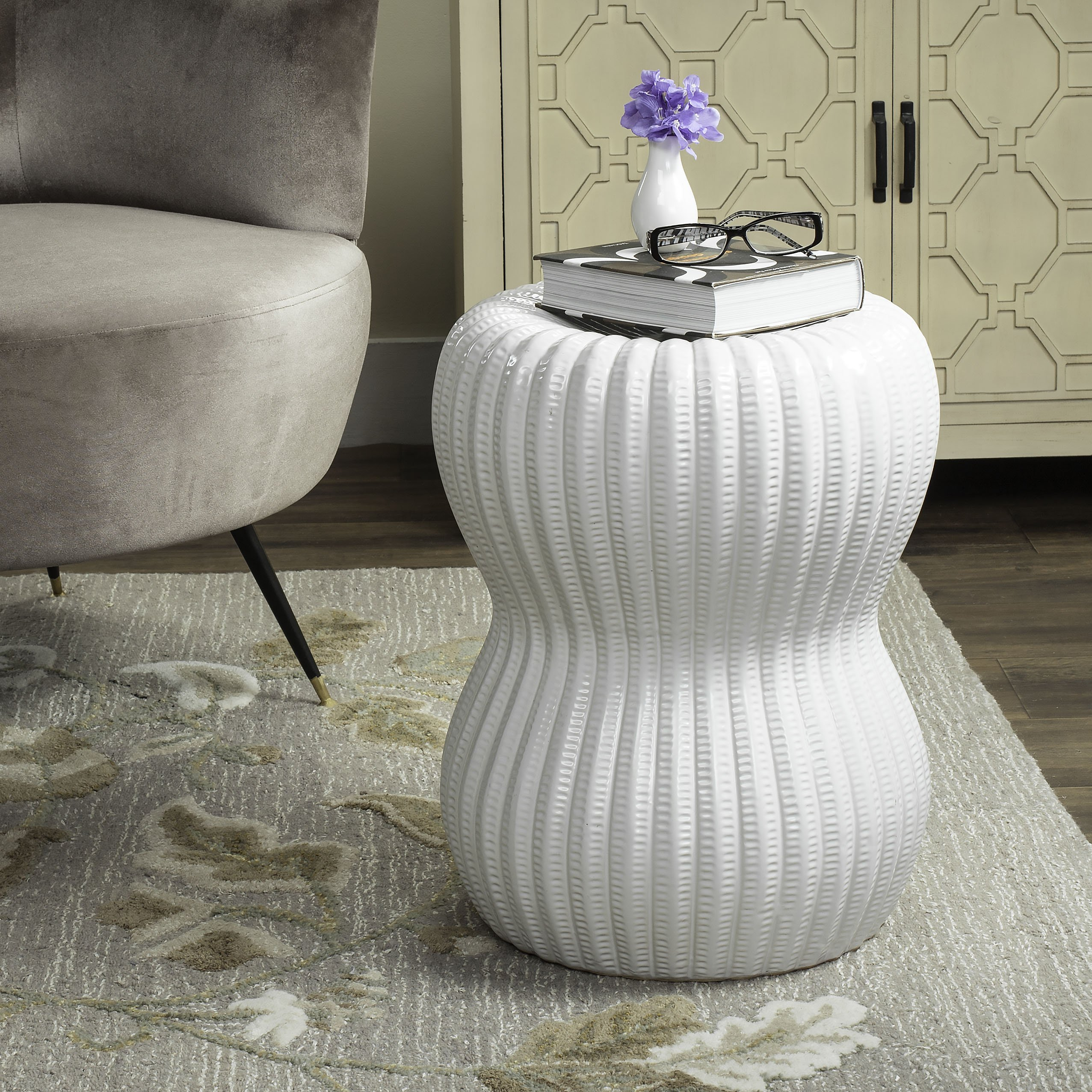 Safavieh Castle Gardens Collection Hour Glass White Ceramic Garden Stool