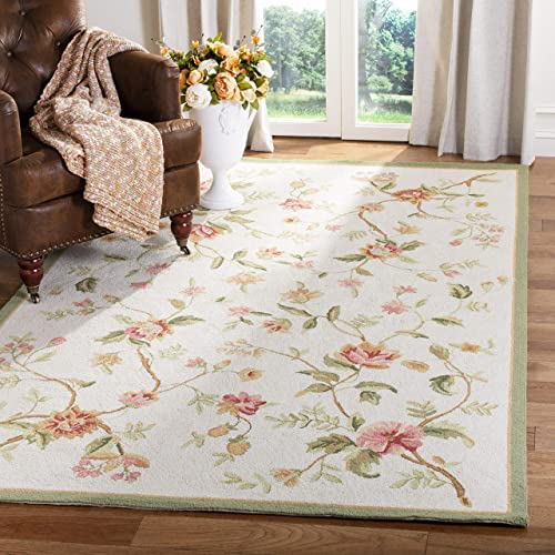 Safavieh Chelsea Collection HK263A Hand-Hooked Ivory Premium Wool Area Rug 8'9″ x 11'9″