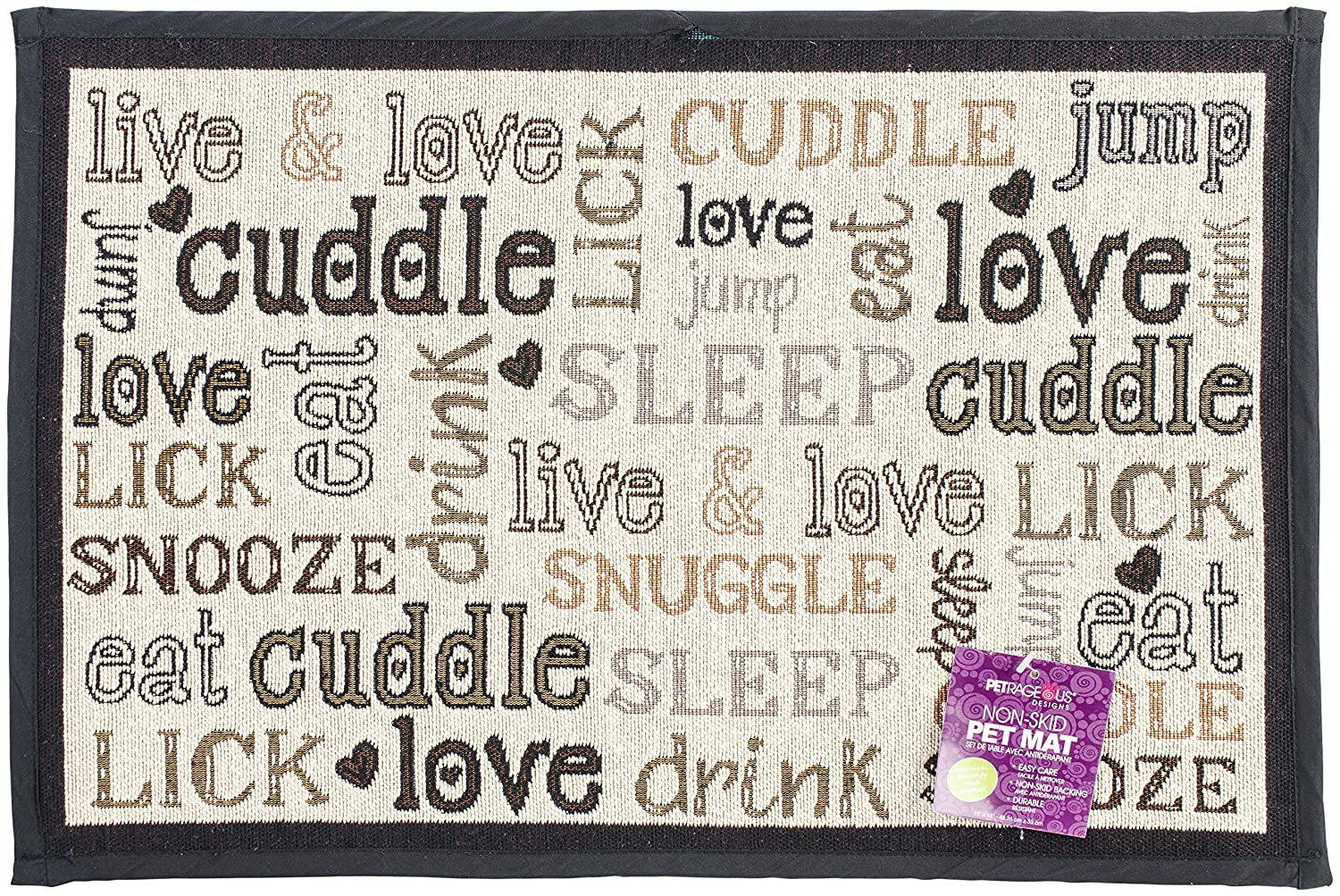 PetRageous Designed Tapestry Placemat for Pet Feeding Station Natural//Black Cuddle 13-Inch by 19-Inch