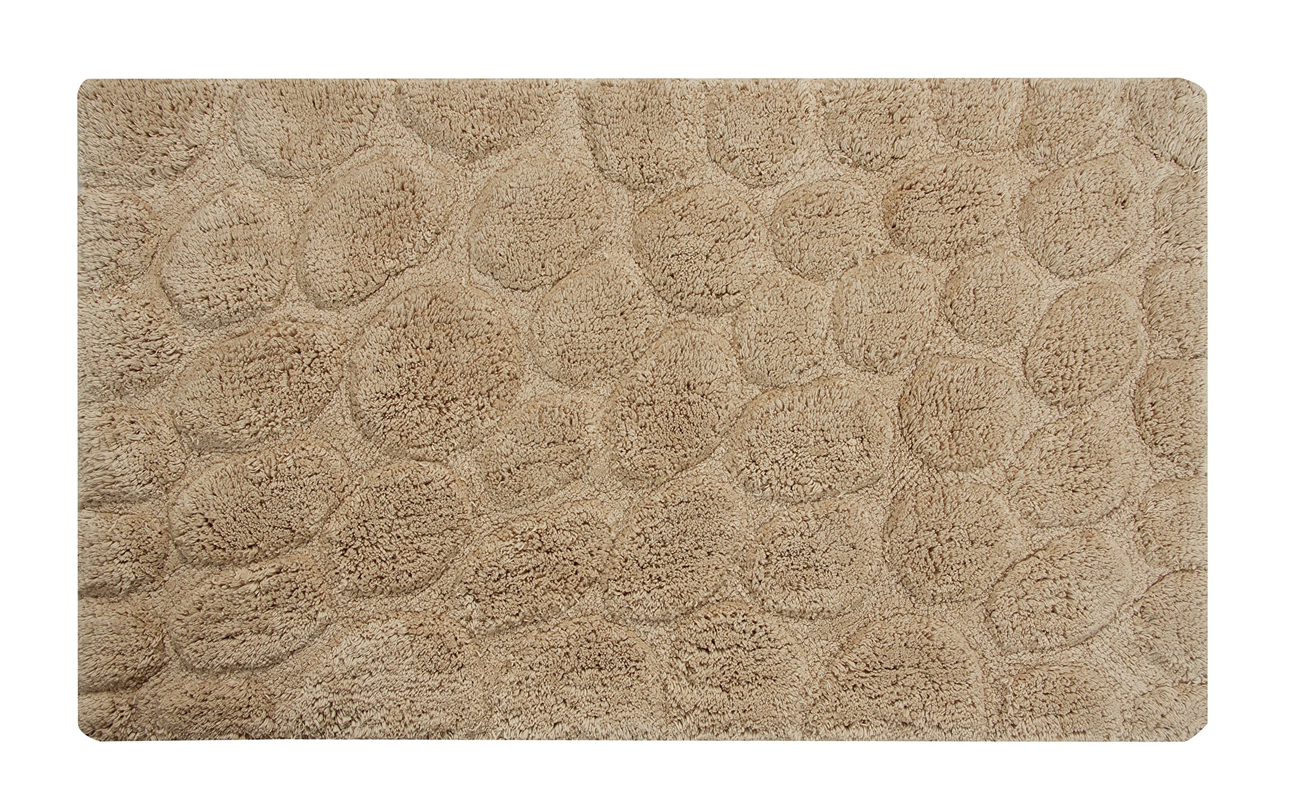 Saffron Fabs Bath Rug 100% Soft Cotton, Size 34x21 Inch, Latex Spray Non-Skid Backing, Beige Color, Pebbles Pattern, Hand Tufted, Heavy 190 GSF Weight, Machine Washable, Rectangular Shape - Latex Spray Non-Skid backing, Solid Color, Pebbles Stone Pattern 100% Cotton, provides high water absorbance, perfect for bathroom use. Super soft and plush. This rug can be used as area rug in Kitchen, Bedroom, Hotels, and SPA etc Machine washable; cold separately; gentle cycle; and dryable for easy care; less prone to shrinking or pilling and retains color better, even after repeated washings - bathroom-linens, bathroom, bath-mats - A127lLH G L -