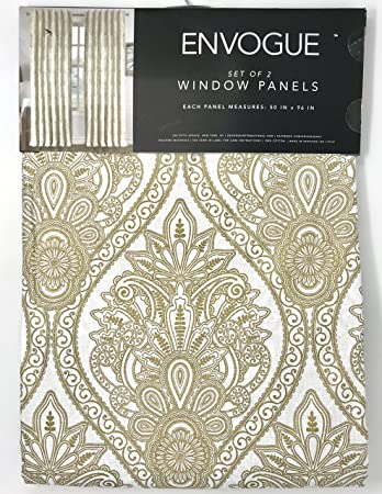 Tahari Home Envogue French Amelia Damask Paisley Medallions Pair of Curtains 2 window panels Extra Long 50 by 96-inch Designer Drapery Gold White
