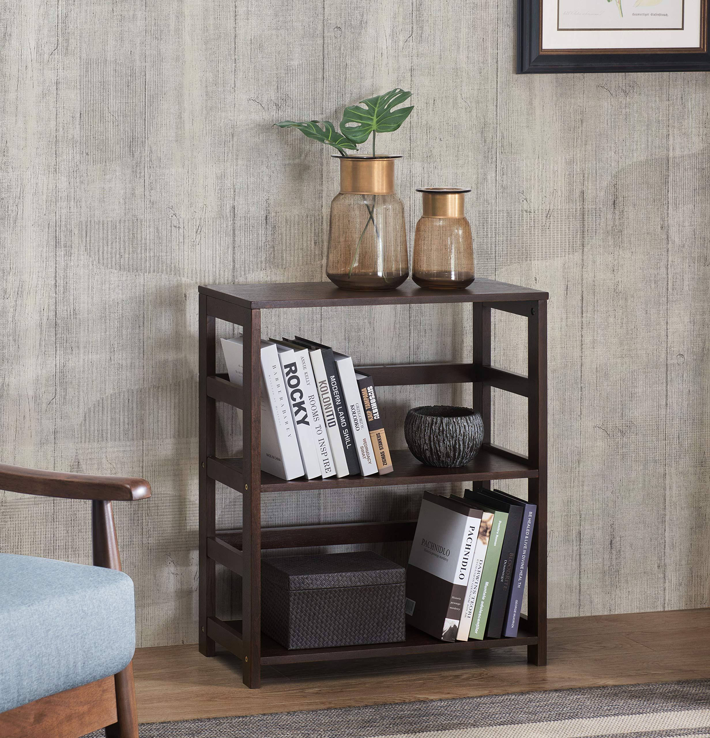 2L Lifestyle Hyder Everyday Basic Bookshelf Storage Rack Wood Shelf, Small, Brown by 2L Lifestyle (Image #1)