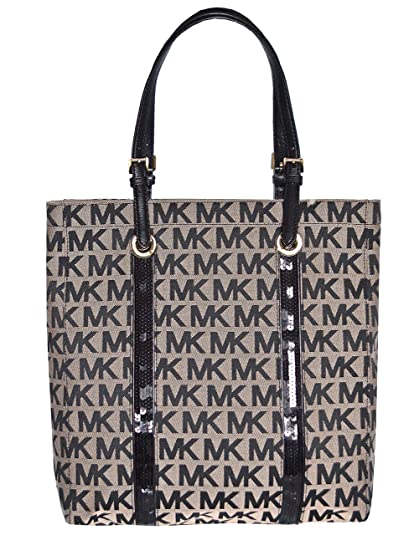 Michael Kors MK Signature Sequin Stripes NS Tote Shoulder Bag, Black