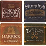 """CoasterStone AS2340 Absorbent Coasters, 4-1/4-Inch, """"Irish Pubs"""", Set of 4"""