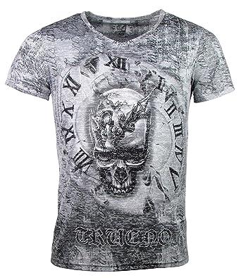 7d8f81f73ffb1d Herren T-Shirt - Skull Time - Totenkopf Uhr - mit Strass Steinen - schwarz