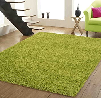 Xl Large Luxury Plain Lime Green Shaggy Rugs Sale 200 X 290