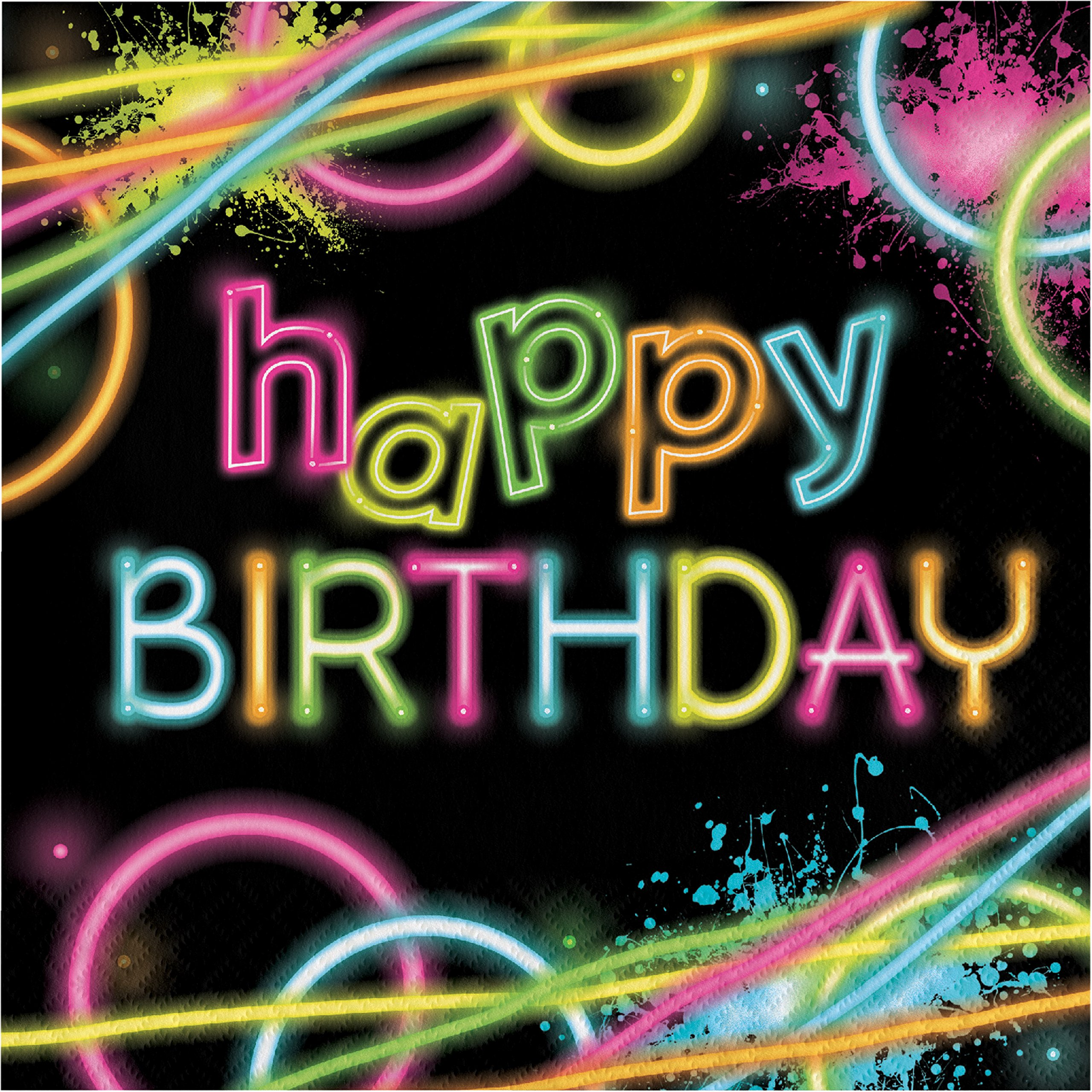 Glow Party Birthday Napkins, 48 Count
