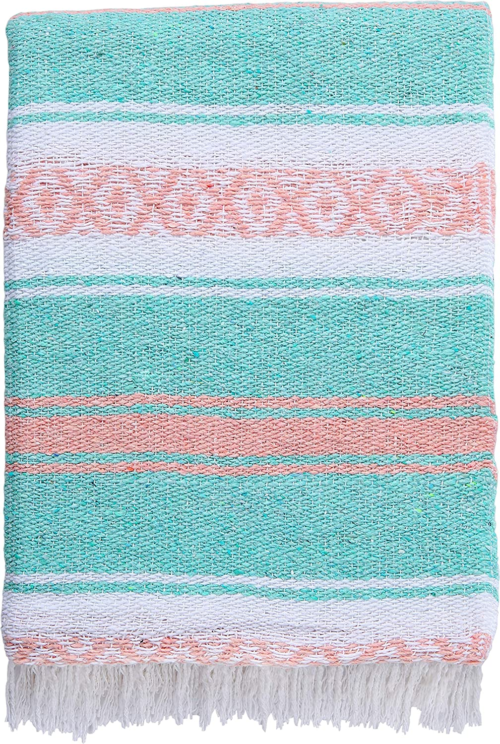 El Paso Designs Mexican Blanket Pastel Bloom Collection Yoga Classic Mexican Falsa Pattern Woven Throw 51in x 74in (Pink and Mint)