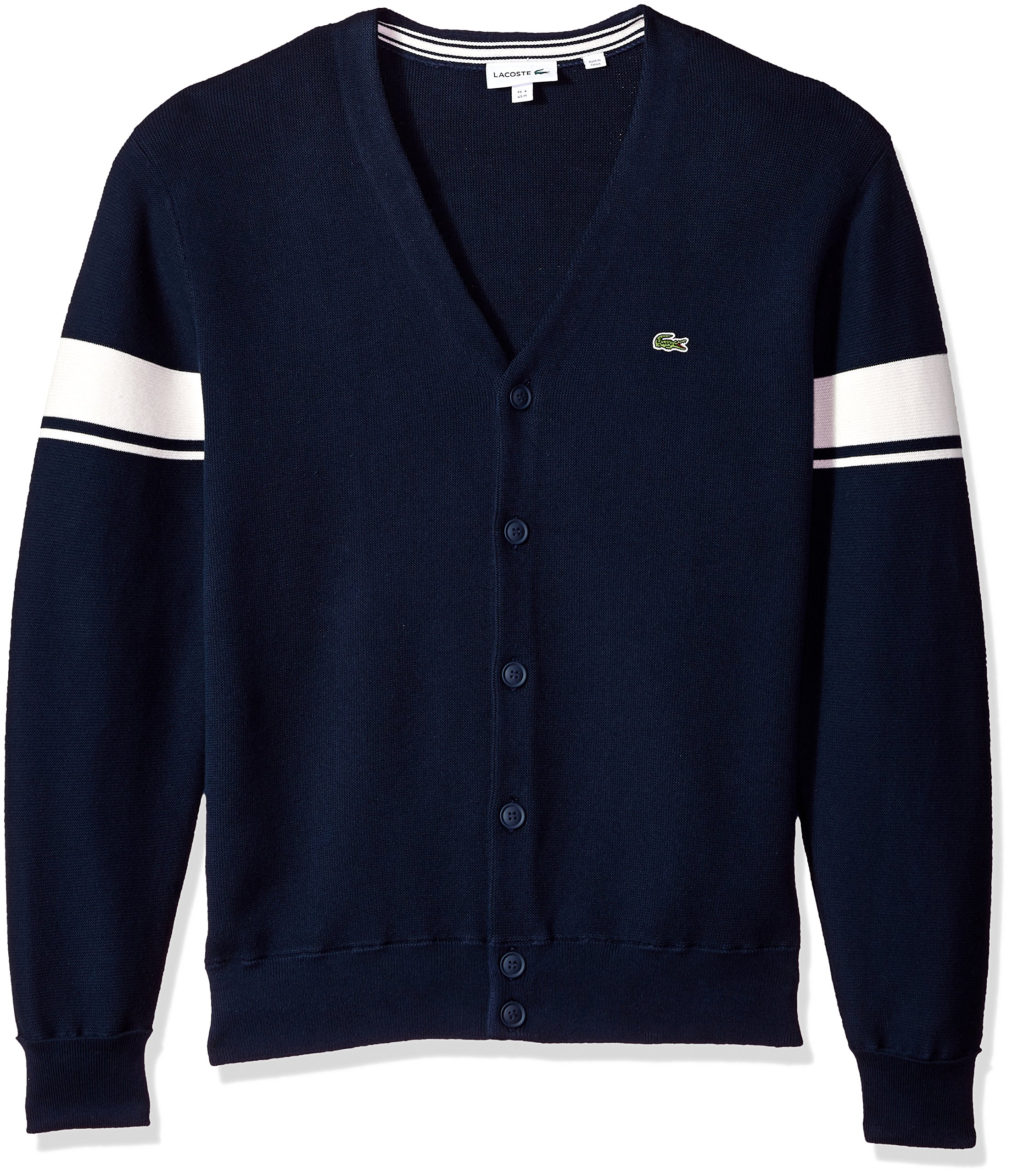 Lacoste Men's Long Sleeve Heritage France Milano Crew Neck Sweater, AH4562, Navy Blue/Cake/Flour White, XL