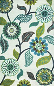 Rizzy Home Eden Harbor Collection Wool/Viscose Area Rug, 3' x 5', Sage/Blue-Teal/Gray/Rust/Blue Floral