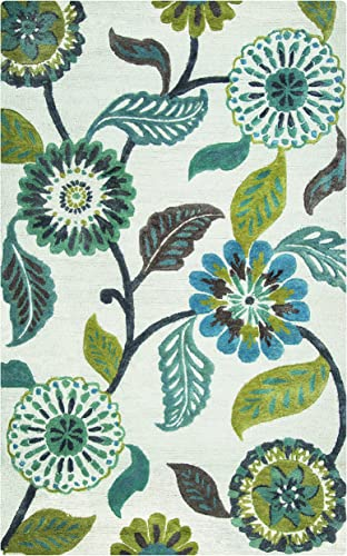 Rizzy Home Eden Harbor Collection Wool Viscose Area Rug, 8 x 10 , Sage Blue-Teal Gray Rust Blue Floral