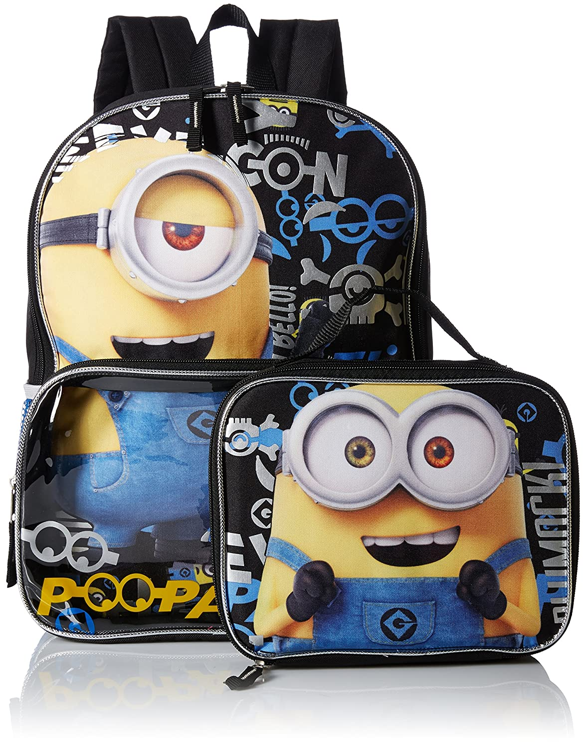 Black Despicable Me Big Boys Minions 16 Backpack Lunchbox Lunch Kit Eyecon