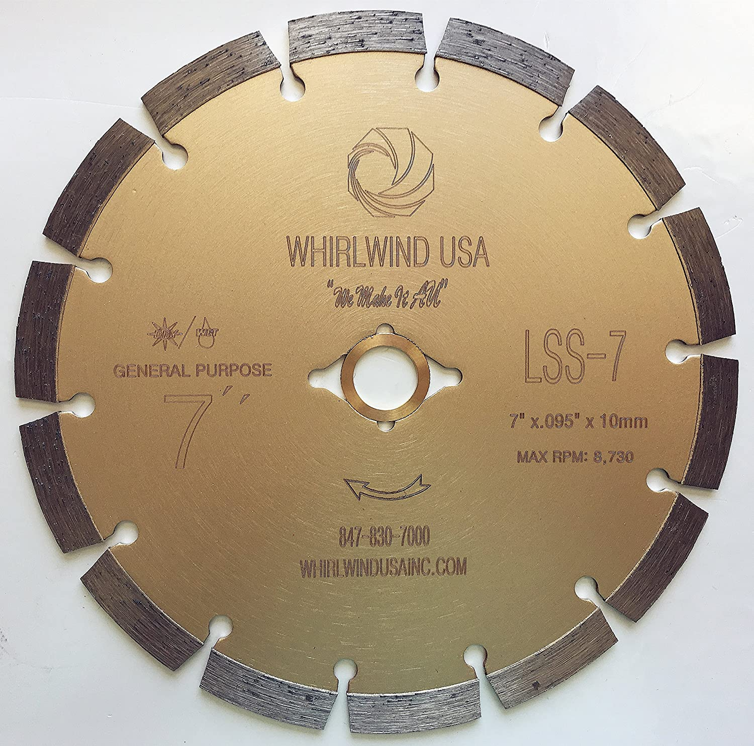 "Whirlwind USA LSS 7-Inch Dry or Wet Cutting General Purpose Power Saw Segmented Diamond Blades for Concrete Stone Brick Masonry (Factory Direct Sale) (7"")"