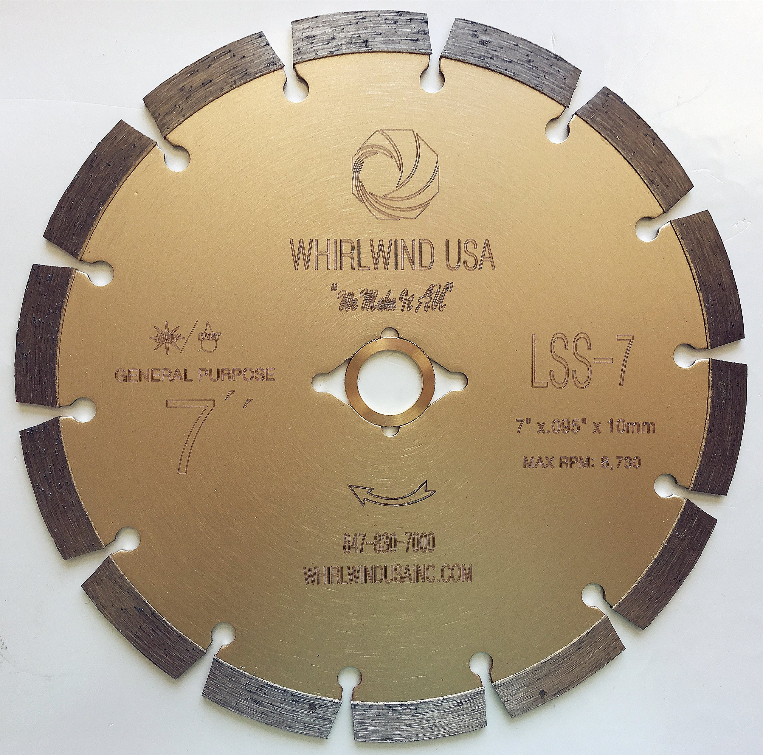 Whirlwind USA LSS 7-Inch Dry or Wet Cutting General Purpose Power Saw Segmented Diamond Blades for Concrete Stone Brick Masonry (Factory Direct Sale) (7'') by WHIRLWIND USA