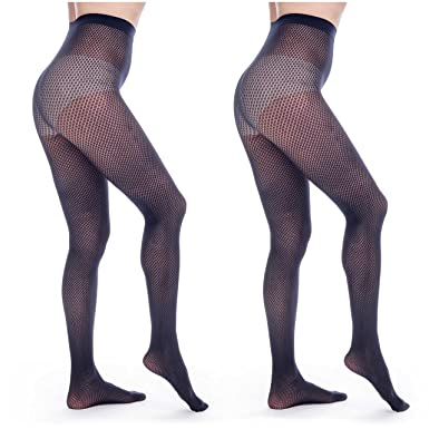 78a9d06e1aa ElsaYX Women s Sexy Seamless Fishnet Lace Jacquard Pantyhose  Amazon ...