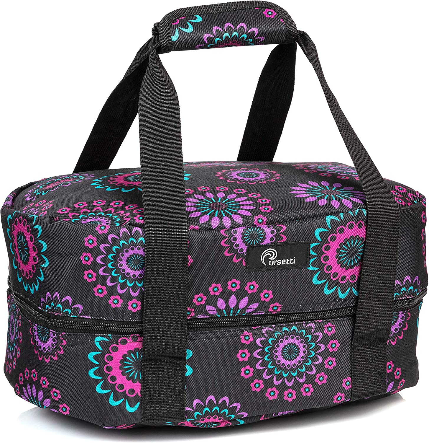 Slow Cooker Bag for Carrying Oval and Round-Shaped Crockpots, Multi Cookers, Rice & Pressure Cookers up to 6 Quarts to Transport Hot Food with Ease and in Style (Purple Circle)