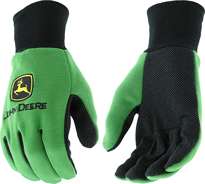 West Chester John Deere JD00002 Knit Polyester/Cotton All Purpose Work Gloves with Dotted Palms: Green, One Size Fits Most, 1 Pair