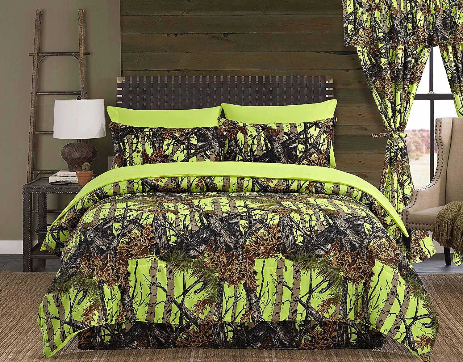 Regal Comfort The Woods Lime Green Camouflage King 4 Piece Premium Luxury Comforter