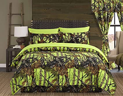 7 PC BLACK CAMO COMFORTER AND SHEET SET KING CAMOUFLAGE BEDDING WOODS LEAVES