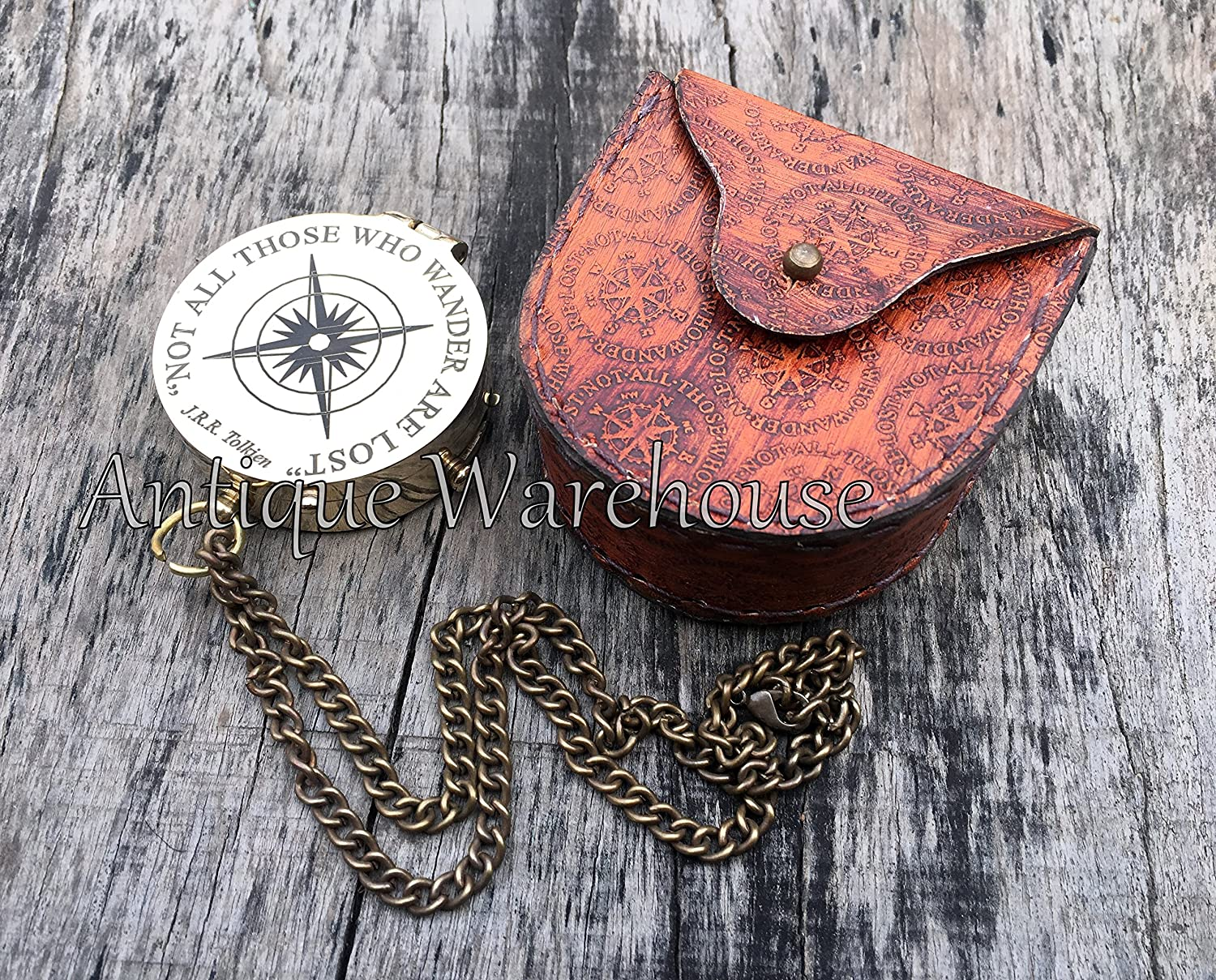 Not All Those Who Wander Are Lost  Nautical Workingコンパス、レザーケースG B079NJTBZV