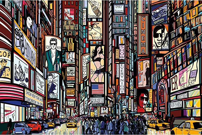GREAT ART Poster – Times Square Illustration – Picture Decoration New York in Comic Style Music Acting US City Broadway Image Photo Decor Wall Mural (55x39.4in - 140x100cm)