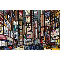 Great Art Poster – Broadway Wallpaper – New York in Comic Style Mural Music Theatre Acting Poster Illustration US City…