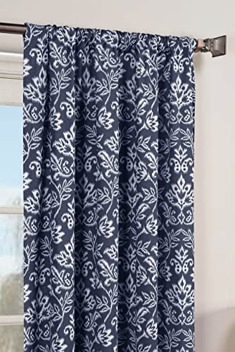 Window Elements Valencia Printed Cotton Extra Wide 104 x 84 in. Rod Pocket Curtain Panel Pair