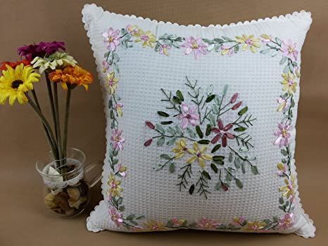 Hecho a mano cinta floral bordado funda de almohada Funda de ...