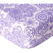 Bacati Isabella Girls Paisley Scroll 2 Piece Crib/Toddler Fitted Sheet, Lilac/Purple/Aqua