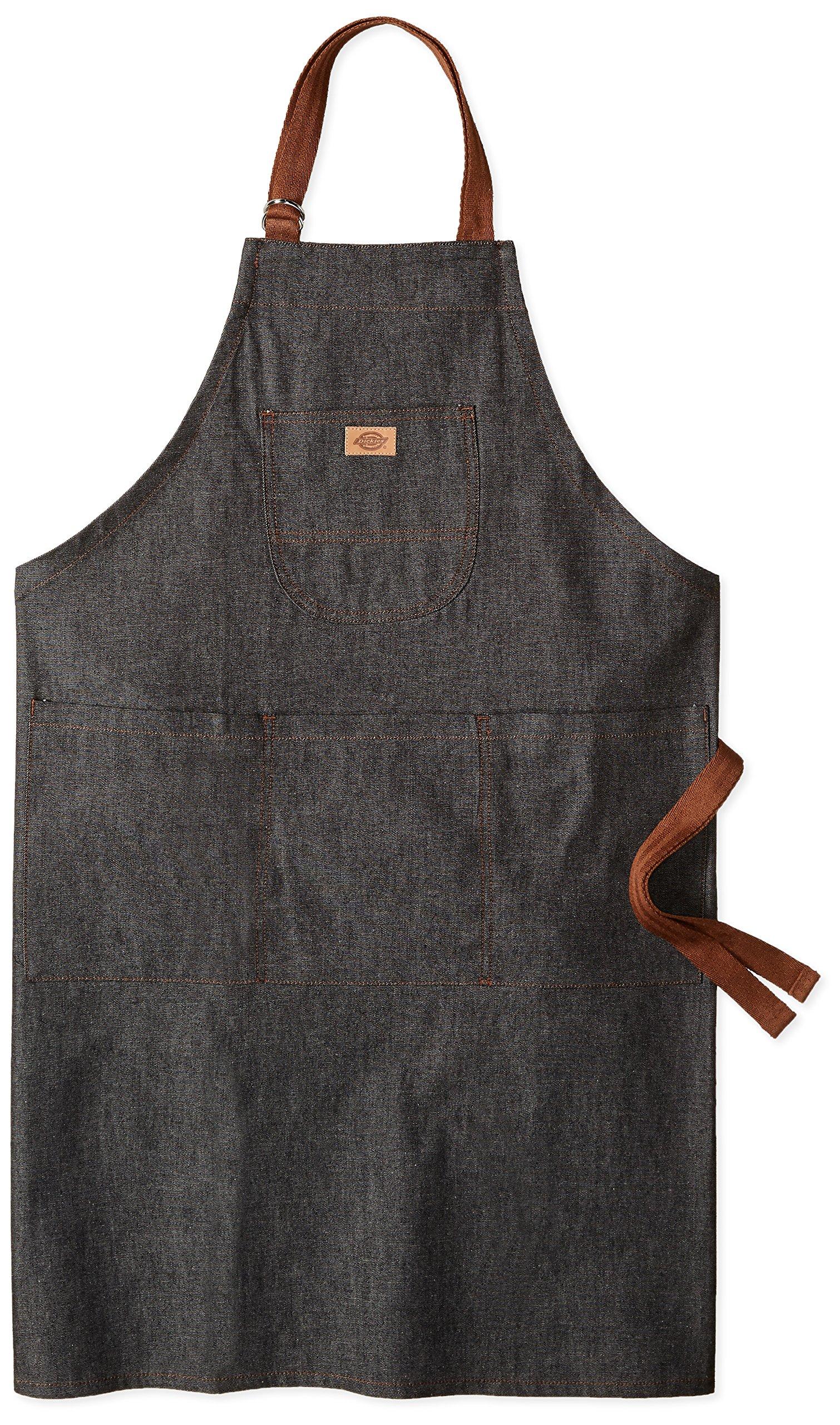 Dickies Chef Unisex-Adults Denim Bib Apron with Brown Straps, Black Denim/Brown Straps, OS
