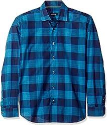 7515b3b41e85db Jared Lang Mens Shirt in Turquoise and Navy Plaid