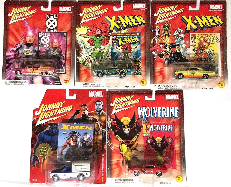 Studebaker truck Hemi Cuda Cadillac Hearse Wolverine Marvel Johnny Lightning set of 5 Cars -X-men Continental pop culture comic book cars Chrysler