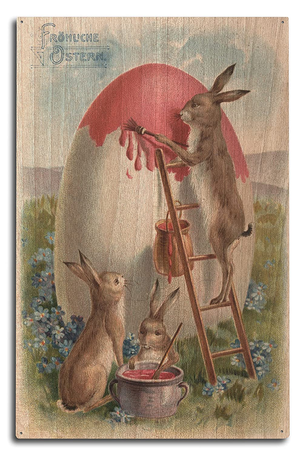 Amazon Easter Greetings In German Rabbits Painting An Egg 100