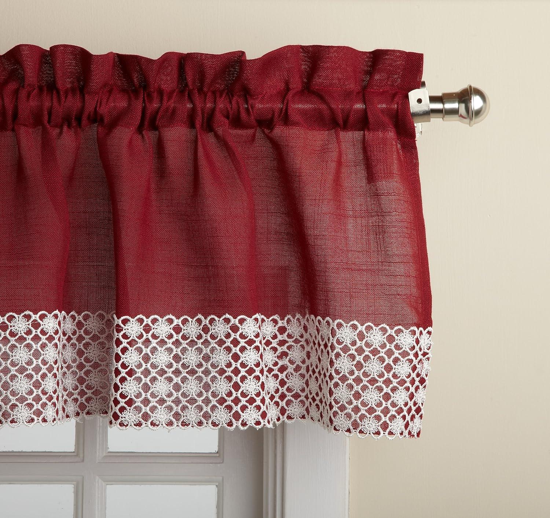LORRAINE HOME FASHIONS Salem 60-inch x 12-inch Tailored Valance, Burgundy