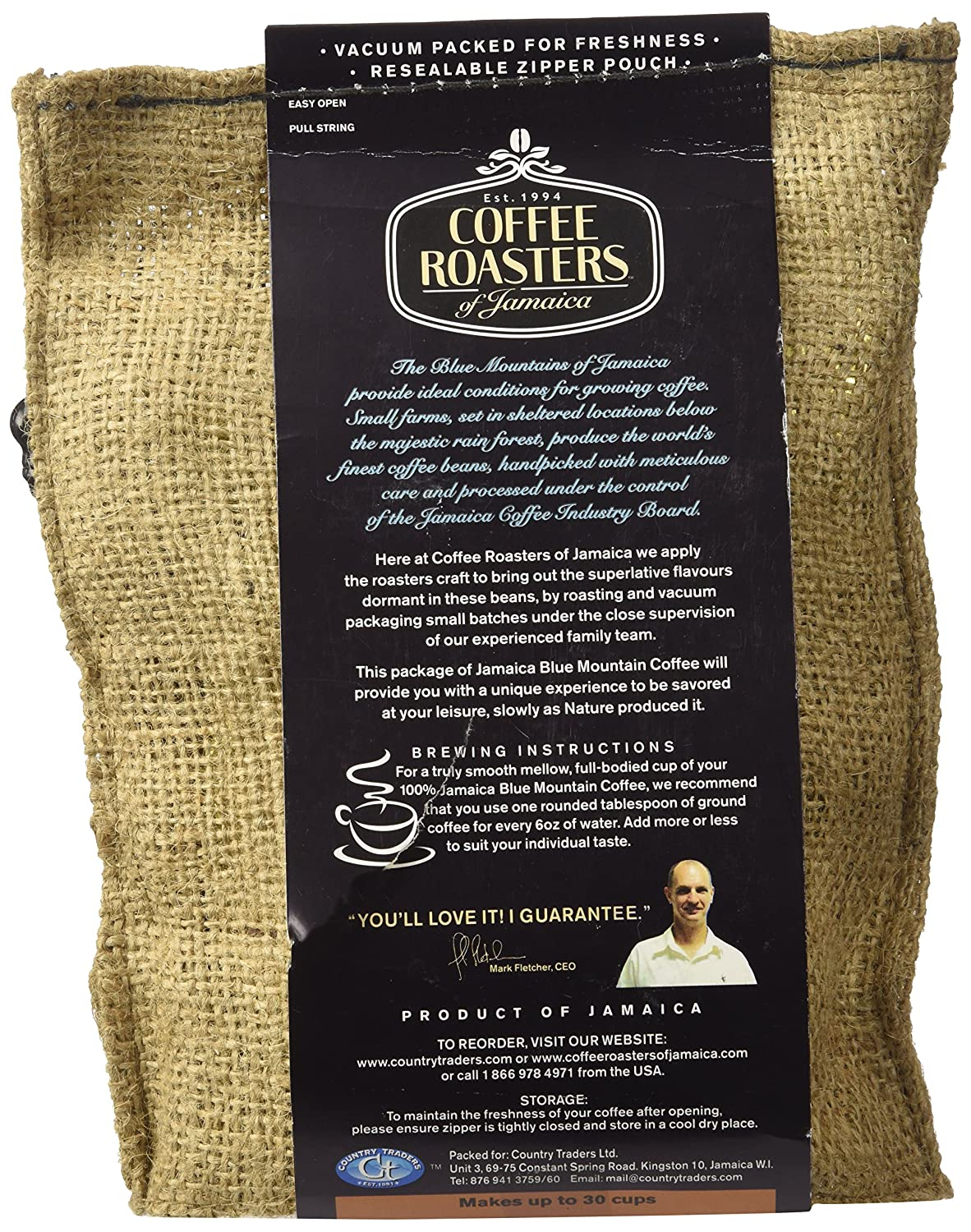 Amazon : 100% Jamaica Blue Mountain Coffee  8 Oz Bag  Whole Beans :  Roasted Coffee Beans : Grocery & Gourmet Food
