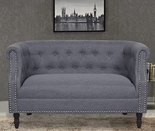 Container Furniture Direct Huton Collection Contemporary Upholstered Linen Wingback Loveseat
