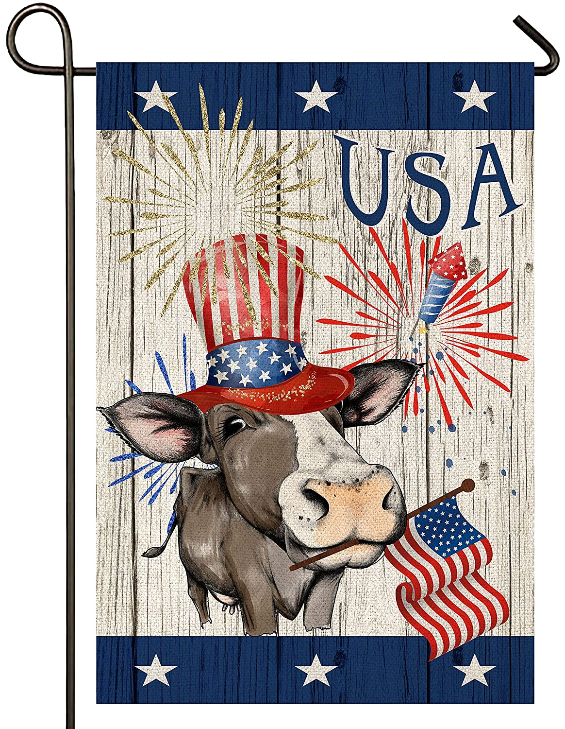 Atenia Burlap Garden Flag, Double Sided American Cow Patriotic Garden Outdoor Yard Flags for 4th of July Decorations