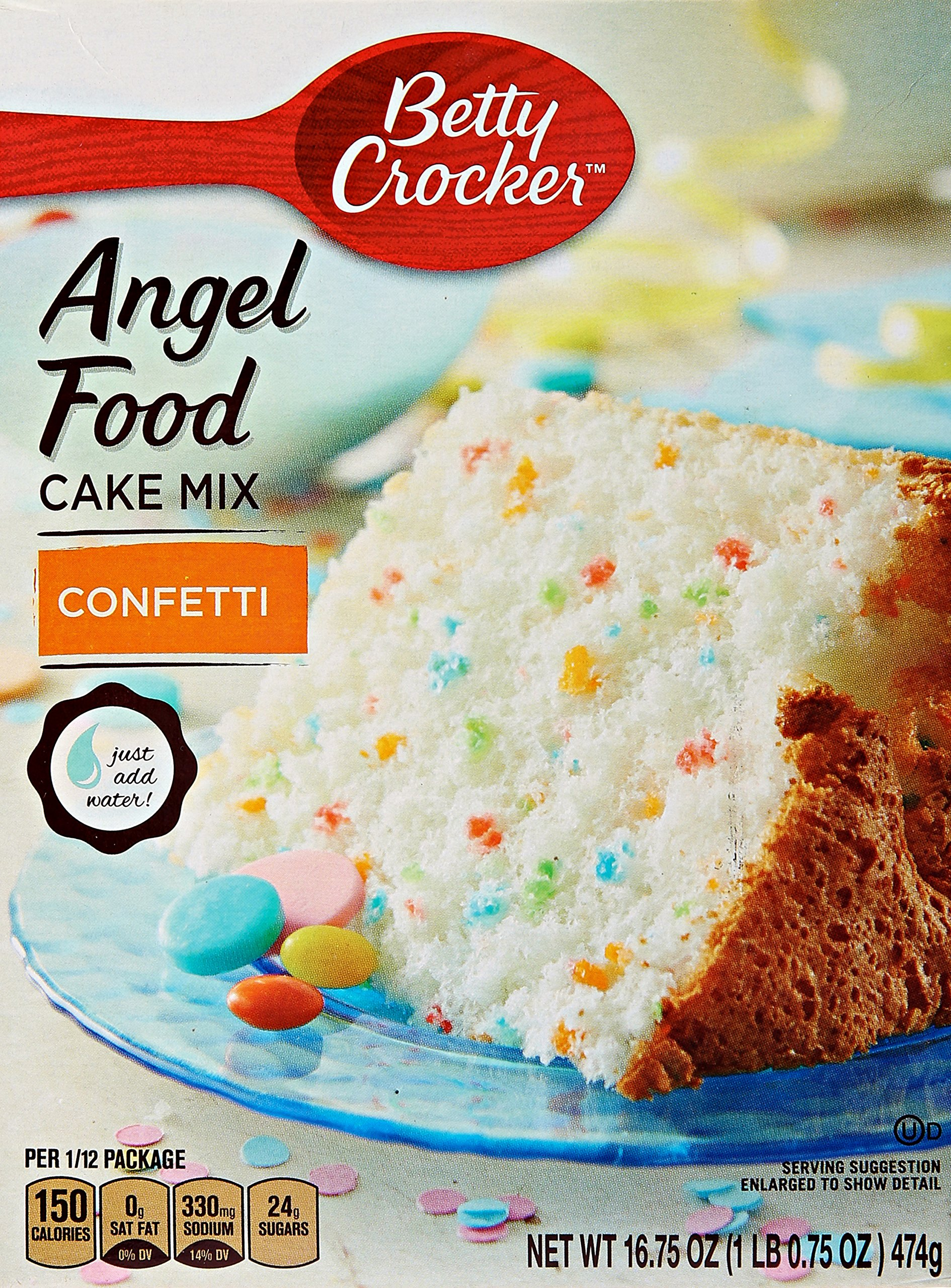 Betty Crocker Fat Free Cake Mix Angel Food Confetti 16.75 oz Box