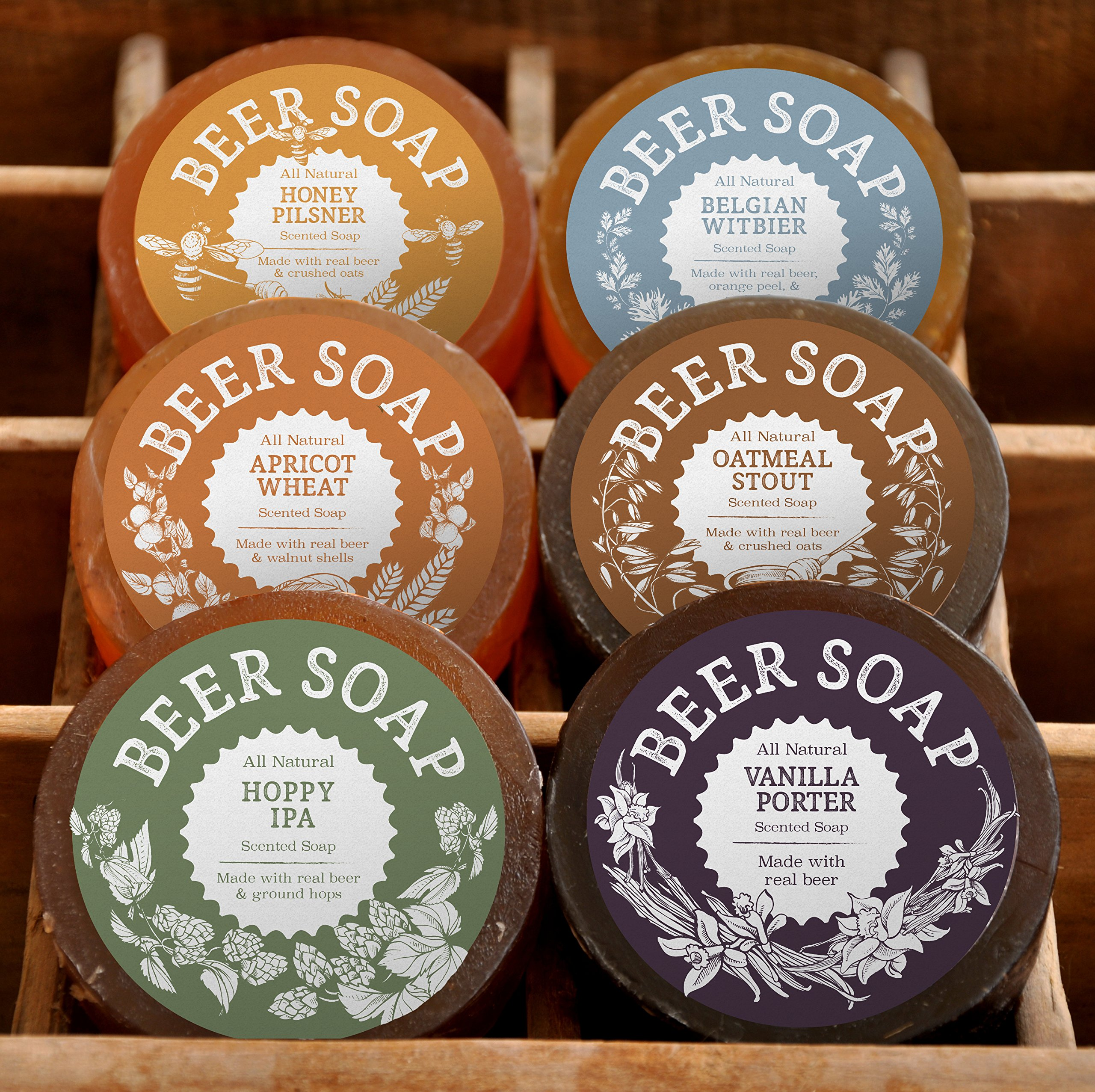 BEER SOAP 6-PACK - All Natural + Made in USA - Actually Smells Good! Perfect Gift For Beer Lovers