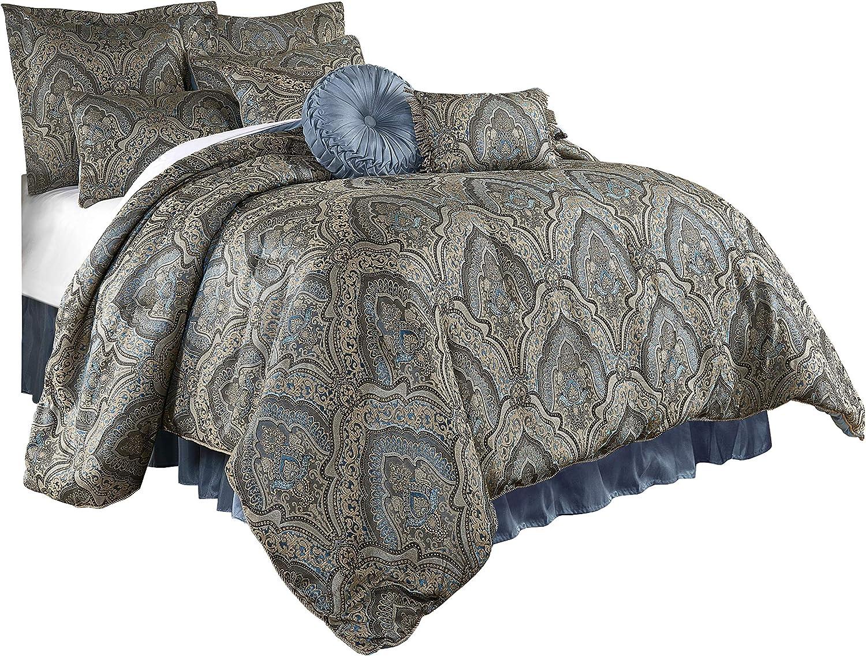 Chezmoi Collection Seville 9-Piece Jacquard Blue Gold Medallion Paisley Comforter Bedding Set California King Size