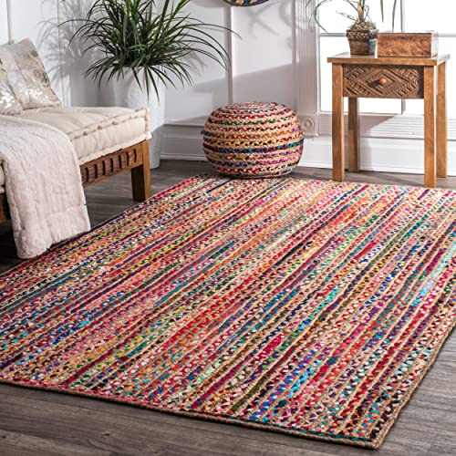 nuLOOM Aleen Braided Cotton Jute Rug, 4 x 6 , Multi