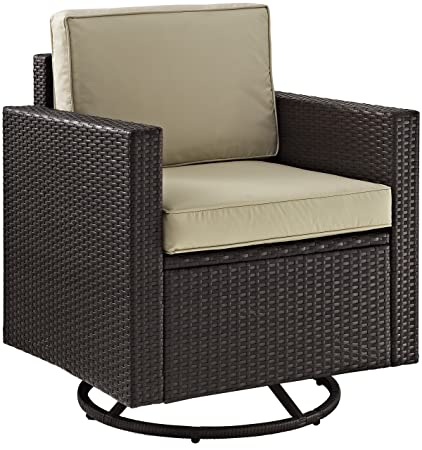 Crosley Furniture Palm Harbor Outdoor Wicker Swivel Rocker Chair With Tan  Cushions   Brown