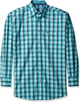 Wrangler Men's Big and Tall George Strait Patriot Two Pocket Long Sleeve Woven Green Shirt