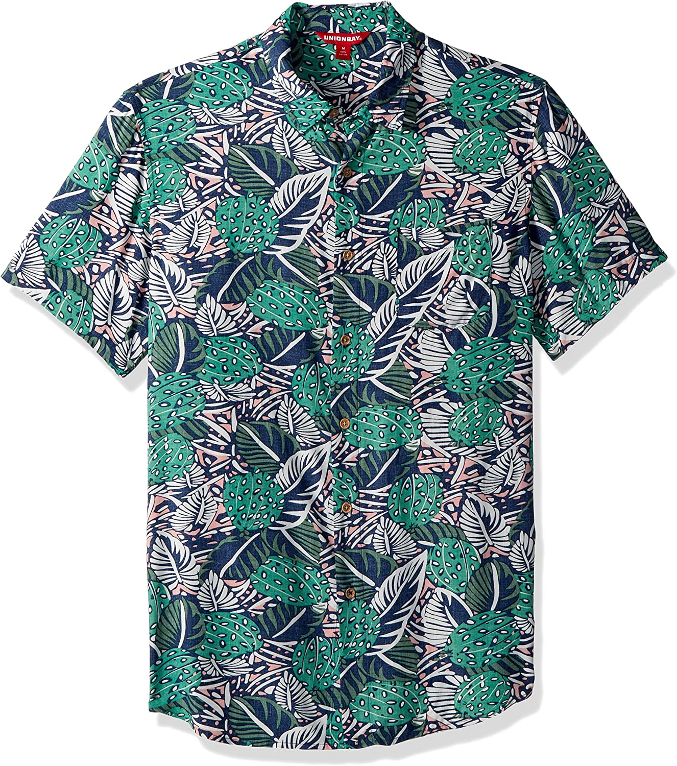 UNIONBAY Mens Classic Short Sleeve Rayon Button-up Woven Shirt