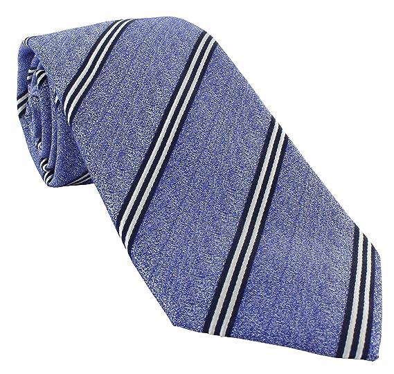 Haddon & Burley Corbata de algodón y seda con rayas azules: Amazon ...