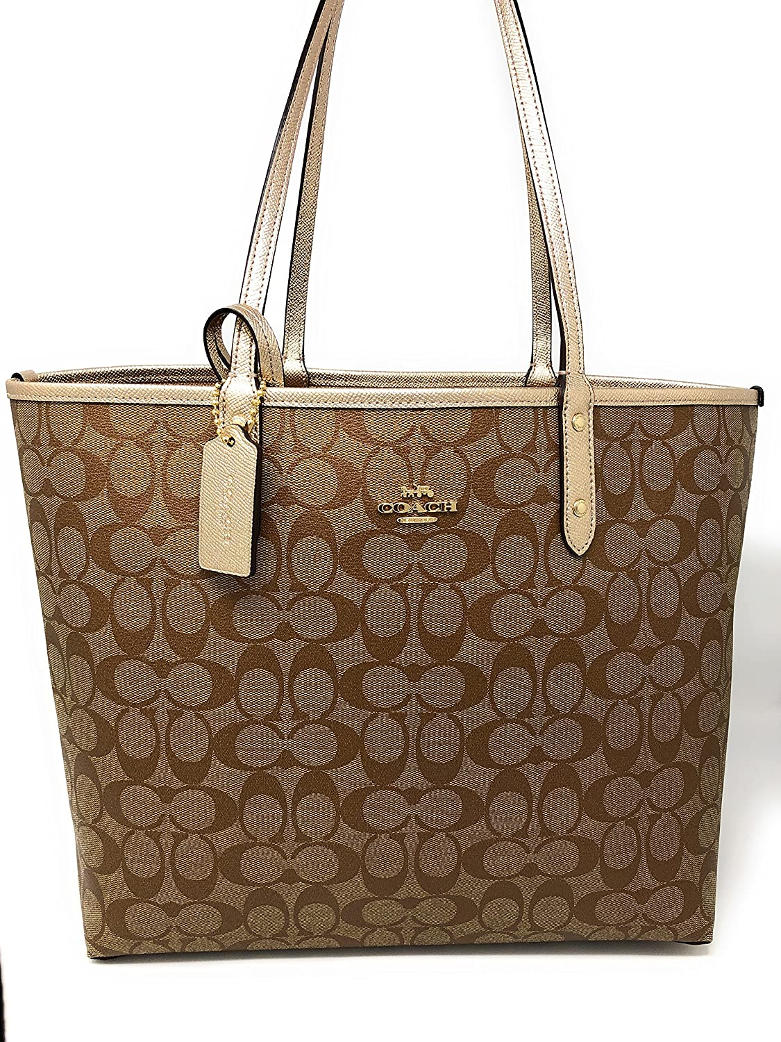 5773993734 Amazon.com  COACH SIGNATURE METALLIC REVERSIBLE CITY TOTE (Khaki-Platinum)  F25849  Shoes