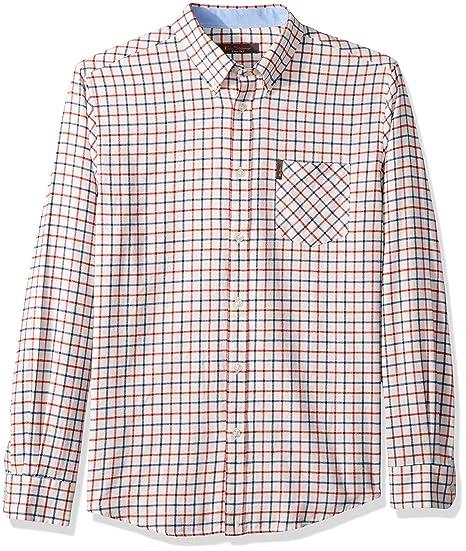 67d58a046 Ben Sherman Men s Windowpane Woven Flannel Shirt Button  Amazon.co.uk   Clothing