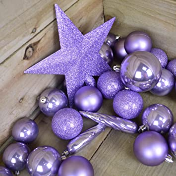 Kaemingk Bauble Star Combo Lilac Violet Xmas Tree Decorations