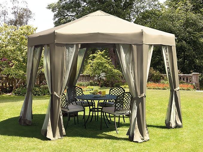 UK-jardines Quick Up Beige plegable 3, 5 m Garden Gazebo con redes ...