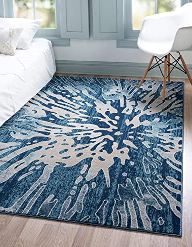 Unique Loom Mystic Collection Abstract Vintage Water Navy Blue Area Rug 9 0 x 12 0